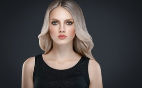 Picture look, face, pose, hair, portrait, beauty, dress, black, shoulders, long hair, Blonde, mode, hairstyle, Ryabusjkina …