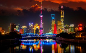 Picture bridge, river, China, building, China, Shanghai, Shanghai, night city, skyscrapers, tower, Pudong, Huangpu River, Pudong, …