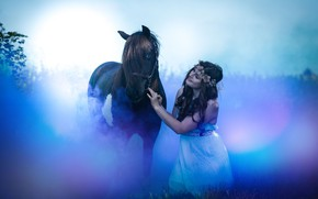 Picture the sky, look, girl, light, blue, nature, pose, fog, smile, glare, background, mood, horse, blue, …