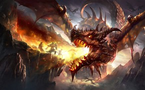 Picture fire, fantasy, Dragon, horns, armor, wings, mountains, rocks, battle, weapons, digital art, artwork, warriors, shield, …