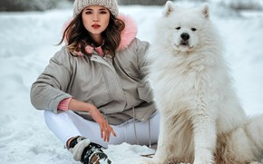 Picture winter, look, snowflakes, nature, pose, model, hat, portrait, dog, jeans, makeup, jacket, hairstyle, brown hair, ...