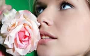Picture flower, eyes, rose, makeup, lips, Catherine A