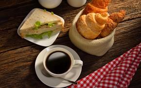Picture coffee, croissant, sandwiches
