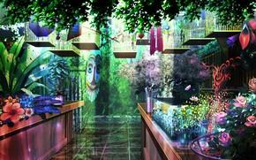 Picture plants, mask, art