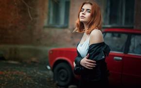 Picture machine, auto, look, girl, pose, red, redhead, Lada, Igor Gorbach