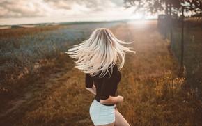Picture girl, sunset, pose, photo, hair, jacket, Jiri Tulach