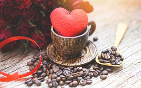 Picture table, tape, Cup, bouquet, red, heart, roses, coffee, grain