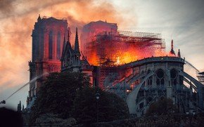 Picture fire, Paris, France, Notre Dame Cathedral