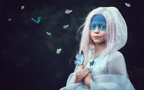 Picture butterfly, style, girl