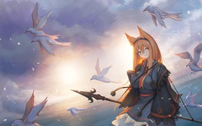 Picture the sky, water, girl, birds, spear, ears