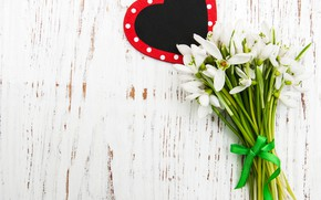 Picture flowers, bouquet, snowdrops, white, white, heart, flowers, spring, snowdrops