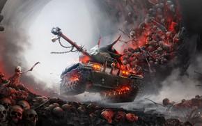 Picture Skull, Halloween, Tank, Skeletons, World of Tanks, Hell