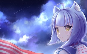 Picture the sky, clouds, girl, ears
