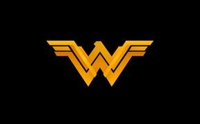 Picture fiction, logo, black background, Wonder Woman, Logo, comic, DC Comics, Wonder woman
