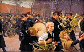 Picture Children, Picture, Soldiers, Parade, Erik Ludvig Henningsen, Erik Ludwig Henningsen, Guards parade, Датский живописец