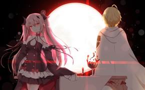 Picture girl, the moon, vampire, Owari no Seraph, The last Seraphim, Michaela Hakua