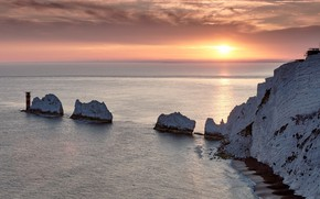 Picture sea, sunset, rocks, England, England, The Isle Of Wight, Isle of Wight, The Needles, Filled …