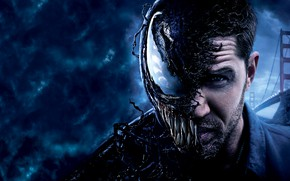 Picture bridge, blue, background, fiction, poster, horror, Tom Hardy, Tom Hardy, Venom, Venom