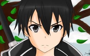 Picture look, anime, art, guy, Sword Art Online, Kirito, Sword Art Online
