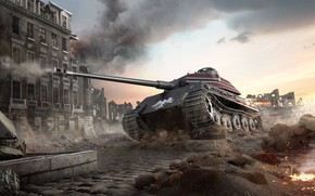 Picture The city, Tiger, Smoke, Germany, Fire, Ruins, Tank, Tiger, Tank, Germany, WoT, World of Tanks, …