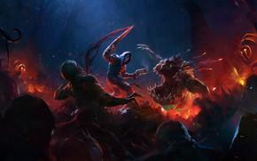 Picture darkness, warrior, creatures, blade, WRATH: Aeon of Ruin