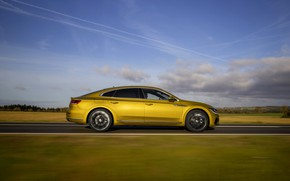 Picture yellow, plain, Volkswagen, profile, 2018, R-Line, liftback, 2017, Arteon