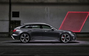 Picture Audi, universal, in profile, RS 6, 2020, 2019, dark gray, V8 Twin-Turbo, RS6 Avant