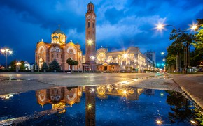 Wallpaper road, the sky, clouds, trees, night, lights, watch, tower, home, lights, Church, puddles, temple, architecture, ...