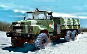 Picture Snow, military use, terrain, truck, KrAZ-260, KrAZ, Triaxial