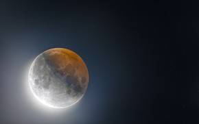 Picture stars, shadow, The moon, Eclipse, Moon, eclipse, stars, shadow