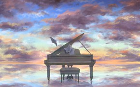 Picture the sky, water, clouds, piano