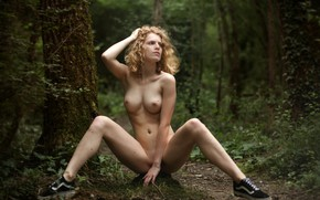 Wallpaper forest, chest, trees, nature, pose, model, naked, body, sneakers, makeup, figure, hairstyle, blonde, sitting, bokeh, ...