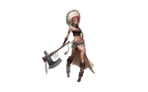 Picture Art, Tomahawk, Minimalism, Characters, Indian Girl, CHOI kwangsoon