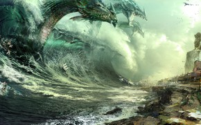 Picture Sea, Dragon, Shore, Wave, Ships, Art, Guild Wars 2, Dragons, Fiction, Daniel Dociu, Attack, Dragons, …