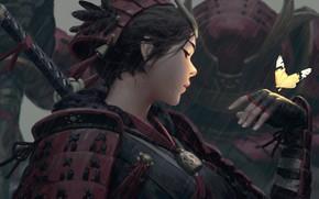 Picture girl, sword, fantasy, rain, weapon, butterfly, feathers, katana, samurai, digital art, artwork, warrior, fantasy art, …