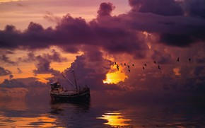 Picture sea, the sky, clouds, sunset, birds, clouds, rendering, boat, ship, the ship, photoart