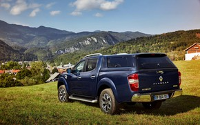 Picture blue, Renault, rear view, pickup, 4x4, 2017, Alaskan