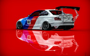 Picture Auto, BMW, Machine, Art, Rendering, Red background, BMW 1 Series, Transport & Vehicles, Clinched, November …
