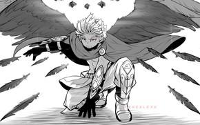 Picture wings, angel, feathers, guy, red eyes, My Hero Academia, Boku No Hero Academy, My Hero …