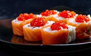 Picture close-up, the dark background, food, fish, figure, caviar, tray, dish, sushi, red caviar, Asian cuisine