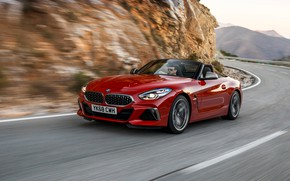 Picture red, speed, BMW, Roadster, BMW Z4, M40i, Z4, 2019, UK version, G29