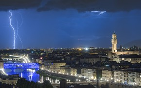 Picture the sky, night, lights, lightning, Italy, Florence, thunder