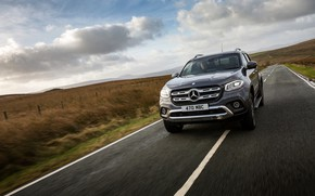 Picture Mercedes-Benz, pickup, on the track, 2017, X-Class, dark gray, UK-version