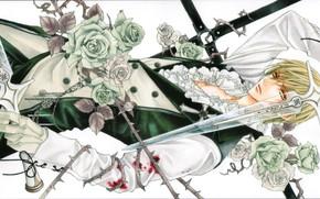 Picture blood, sword, white roses, art, white shirt, Usui Shuusei, hotaru odagiri, ura of the bok …