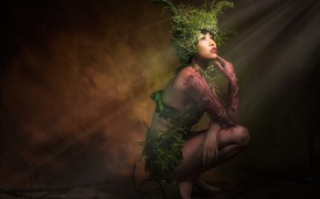 Wallpaper Asian, darkness, feet, nymph, design, plants, background, light, rays, hands, the dark background, pose, horns, ...