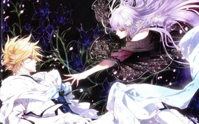 Picture girl, the game, anime, art, Hands, guy, Queen of the Flowers