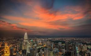 Picture the sky, the city, glow, Malaysia, Kuala Lumpur