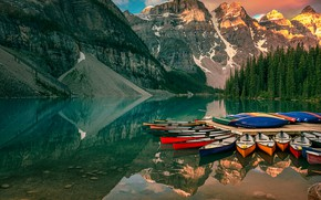 Picture landscape, mountains, nature, lake, reflection, boats, Canada, Albert, forest, national Park, reserve, Banff, Banff, Moraine