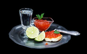 Picture leaves, knife, lime, black background, vodka, red, sandwich, caviar, glass, tray, vase, appetizer