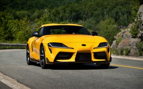 Picture yellow, coupe, Toyota, Supra, the fifth generation, on the road, mk5, double, 2020, GR Above, …